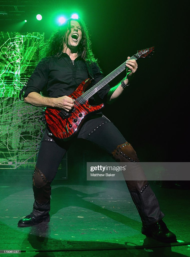 Chris Broderick of Megadeth performs on stage at Brixton Academy on June 6 2013 in London England