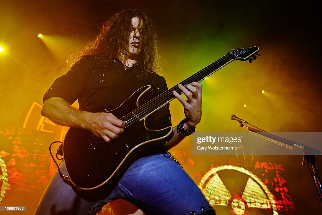 Chris Broderick of Megadeth performs on stage at Manchester Academy on June 5, 2013 in Manchester, England.