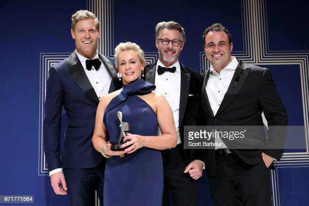 Chris Brown Amanda Keller Barry Du Bois and Miguel Maestre pose with the Logie Award for Best Lifestyle Program for 'The Living Room' during the 59th...