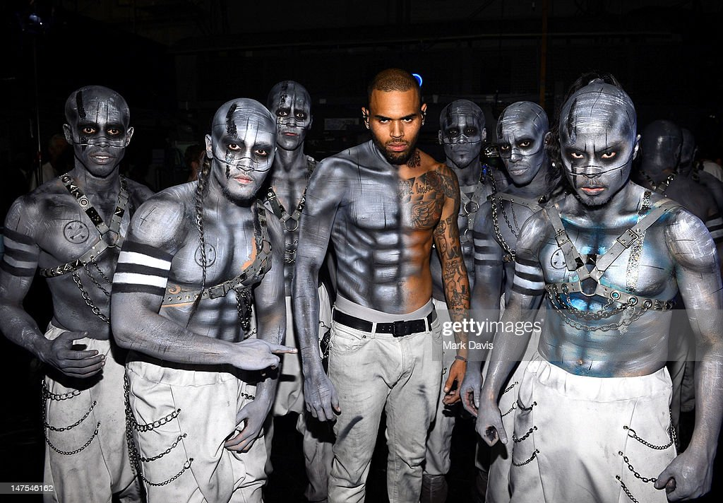 <a gi-track='captionPersonalityLinkClicked' href=/galleries/search?phrase=Chris+Brown+-+Singer&family=editorial&specificpeople=4452016 ng-click='$event.stopPropagation()'>Chris Brown</a> and dancers backstage at the 2012 BET Awards at The Shrine Auditorium on July 1, 2012 in Los Angeles, California.