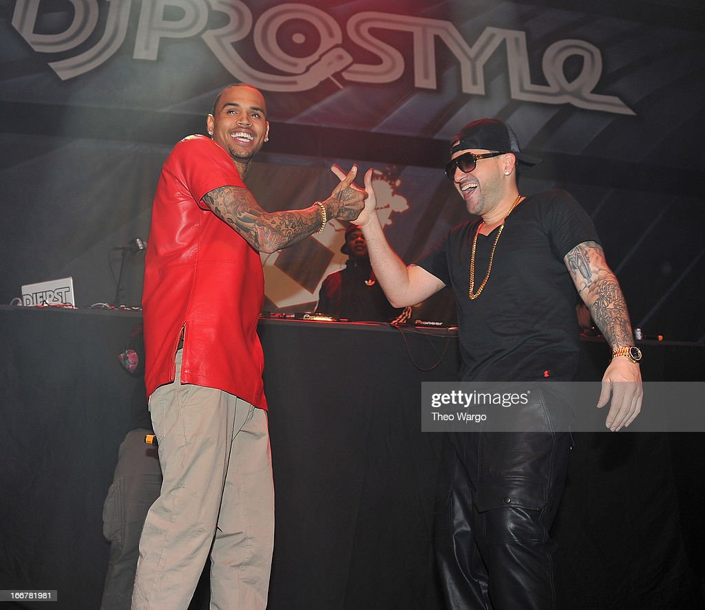 <a gi-track='captionPersonalityLinkClicked' href=/galleries/search?phrase=Chris+Brown+-+Singer&family=editorial&specificpeople=4452016 ng-click='$event.stopPropagation()'>Chris Brown</a> and DJ Prostyle during DJ ProStyle's birthday bash at Hammerstein Ballroom on April 16, 2013 in New York City.