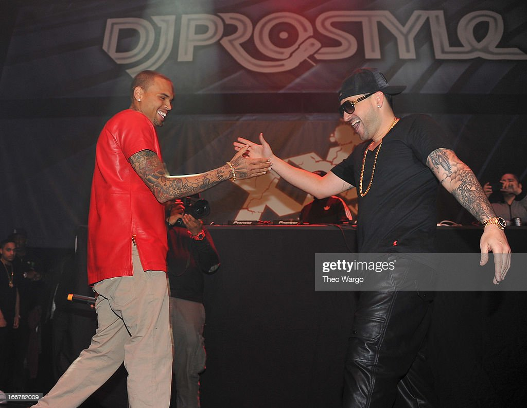 Chris Brown and DJ Prostyle during DJ ProStyle's birthday bash at Hammerstein Ballroom on April 16, 2013 in New York City.