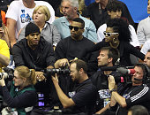 Chris Brown and friends attend Game Five of the NBA Finals between the Los Angeles Lakers and the Orlando Magic at Amway Arena on June 14 2009 in...