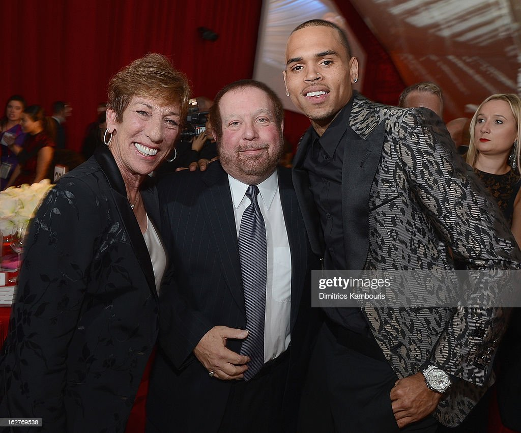 Chris Brown and guests attend the 21st Annual Elton John AIDS Foundation Academy Awards Viewing Party at West Hollywood Park on February 24, 2013 in West Hollywood, California.