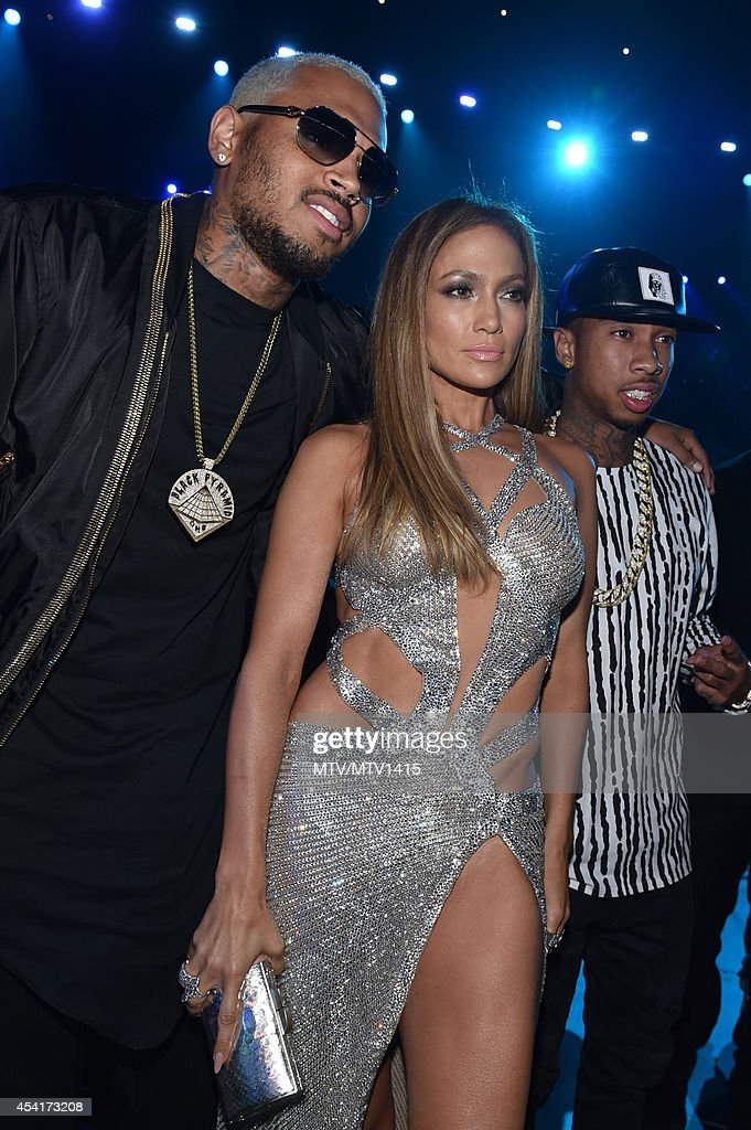 Chris Brown and Jennifer Lopez attend the 2014 MTV Video Music Awards at The Forum on August 24, 2014 in Inglewood, California.