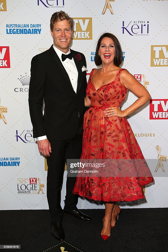 Chris Brown and Julia Morris arrive at the 58th Annual Logie Awards at Crown Palladium on May 8, 2016 in Melbourne, Australia.
