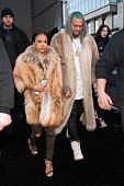 Chris Brown and Karrueche Tran are seen during MercedesBenz Fashion Week Fall 2015 at Lincoln Center for the Performing Arts on February 17 2015 in...