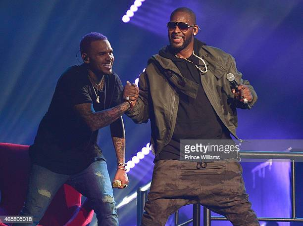 Chris Brown and R Kelly perform at Phillips Arena on March 2 2015 in Atlanta Georgia