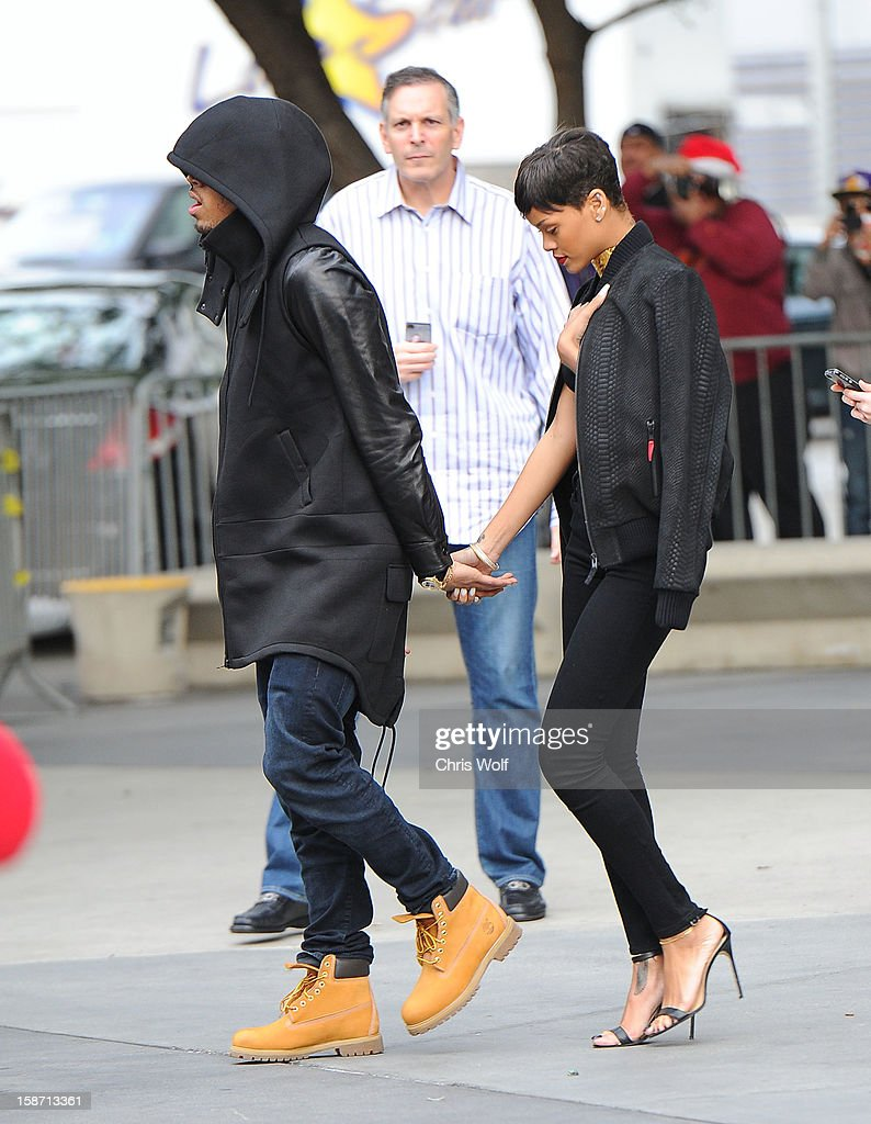 Chris Brown and <a gi-track='captionPersonalityLinkClicked' href=/galleries/search?phrase=Rihanna&family=editorial&specificpeople=453439 ng-click='$event.stopPropagation()'>Rihanna</a> are seen on December 25, 2012 in Los Angeles, California.