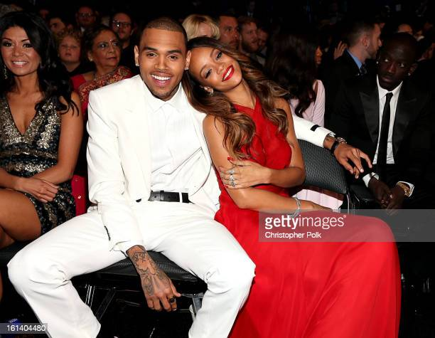 Chris Brown and Rihanna attend the 55th Annual GRAMMY Awards at STAPLES Center on February 10 2013 in Los Angeles California
