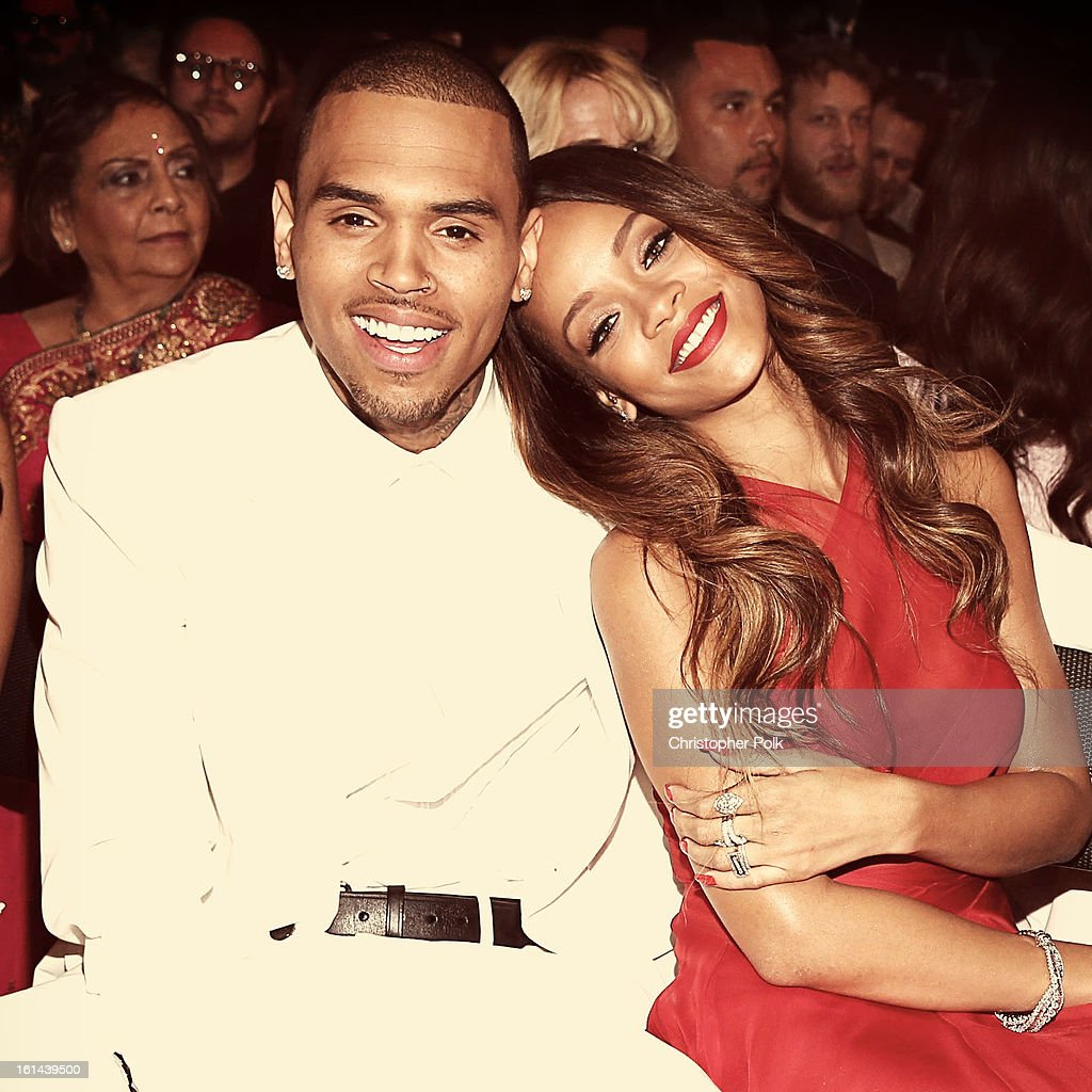 Chris Brown and <a gi-track='captionPersonalityLinkClicked' href=/galleries/search?phrase=Rihanna&family=editorial&specificpeople=453439 ng-click='$event.stopPropagation()'>Rihanna</a> attend the 55th Annual GRAMMY Awards at STAPLES Center on February 10, 2013 in Los Angeles, California.