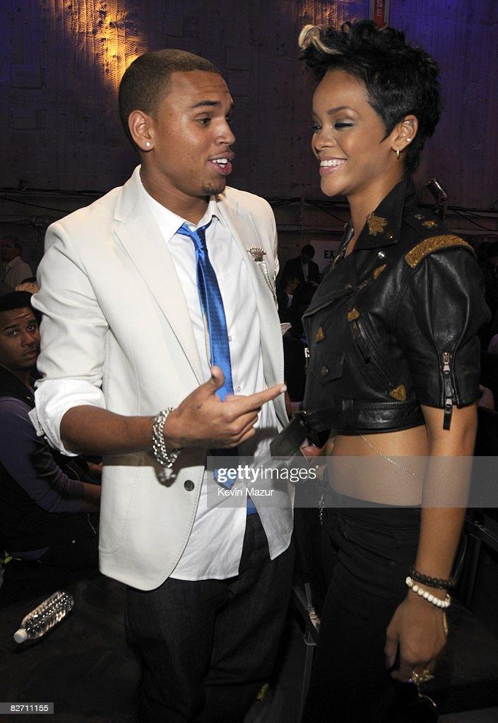 Chris Brown and <a gi-track='captionPersonalityLinkClicked' href=/galleries/search?phrase=Rihanna&family=editorial&specificpeople=453439 ng-click='$event.stopPropagation()'>Rihanna</a> backstage at the 2008 MTV Video Music Awards at Paramount Pictures Studios on September 7, 2008 in Los Angeles, California.