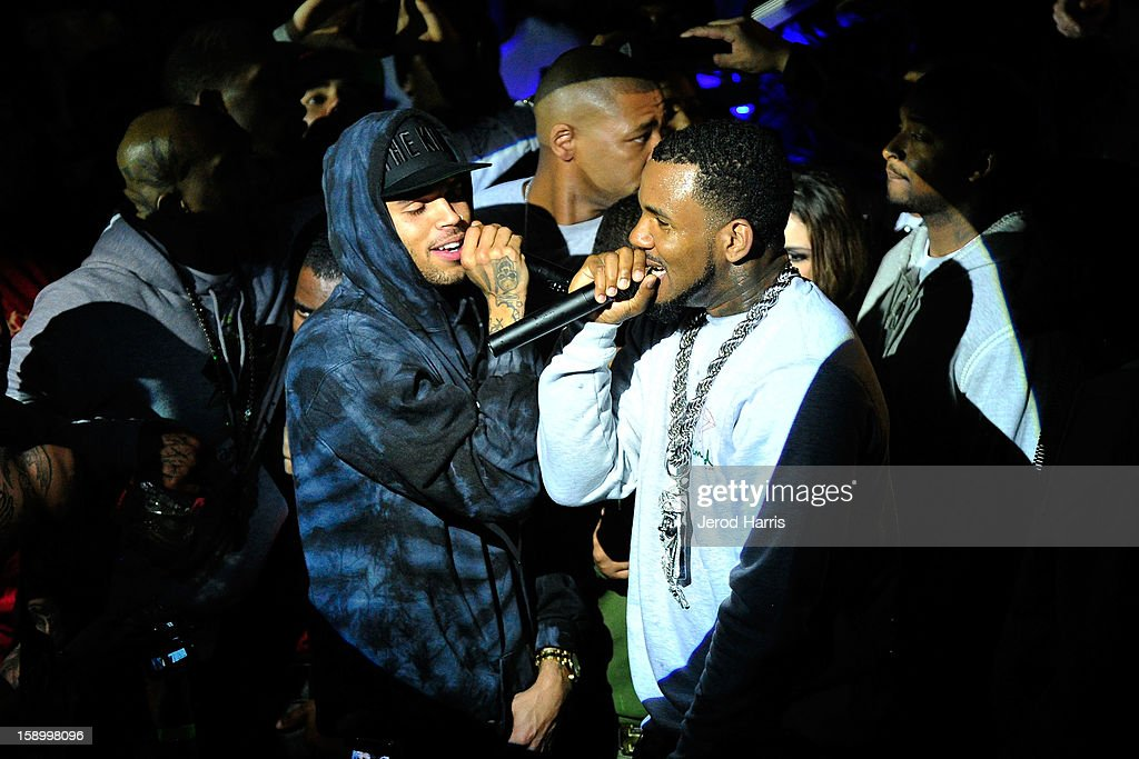 Chris Brown and The Game perform at the DGK Agenda after party at Cafe Sevilla on January 4, 2013 in Long Beach, California.
