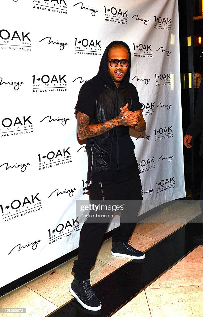 Chris Brown arrives at his birthday celebration at 1 OAK Nightclub at The Mirage Hotel & Casino on May 4, 2013 in Las Vegas, Nevada.