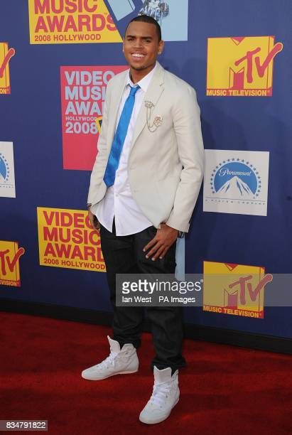 Chris Brown arrives for the MTV Video Music Awards 2008 at Paramount Studios Hollywood Los Angeles California