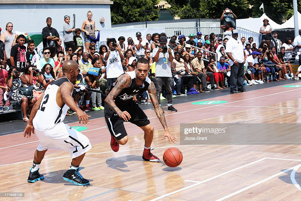 Chris Brown at the Sprite Court during the 2013 BET Experience at L.A. LIVE on June 29, 2013 in Los Angeles, California.