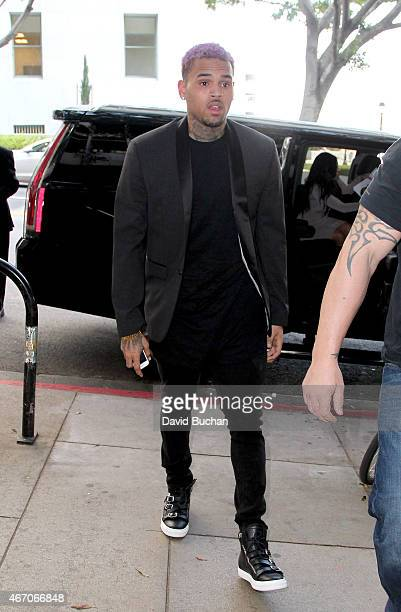 Chris Brown attends his probation violation hearing at Clara Shortridge Foltz Criminal Justice Center on March 20 2015 in Los Angeles California The...
