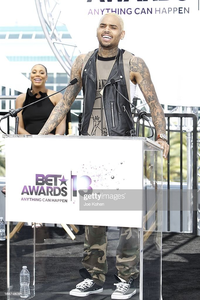 Chris Brown attends the BET Experience At L.A. Live Press Conference at Icon Ultra Lounge on May 14, 2013 in Los Angeles, California.