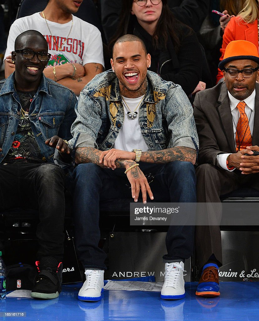 Chris Brown attends the Boston Celtics vs New York Knicks game at Madison Square Garden on March 31, 2013 in New York City.
