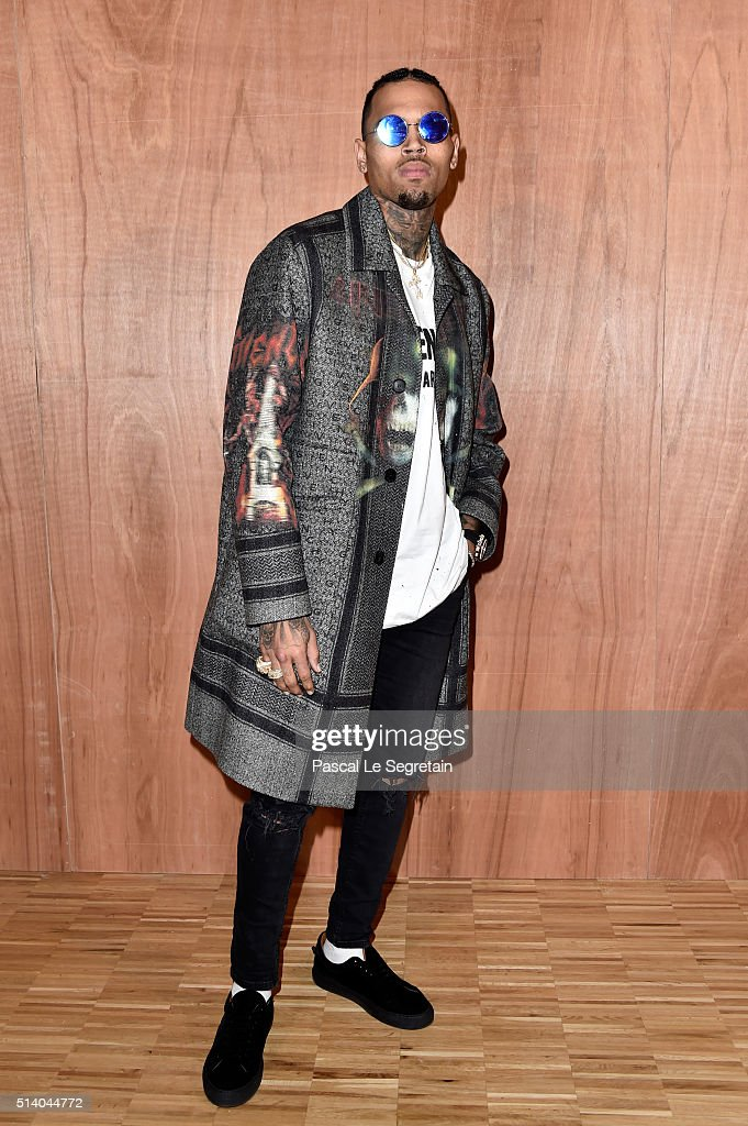 Chris Brown attends the Givenchy show as part of the Paris Fashion Week Womenswear Fall/Winter 2016/2017 on March 6 2016 in Paris France