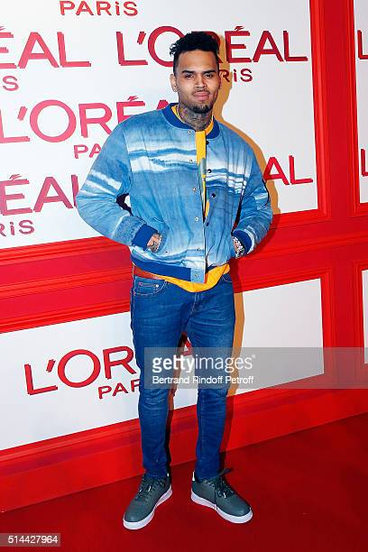 Chris Brown attends the L'Oreal Red Obsession Party as part of the Paris Fashion Week Womenswear Fall/Winter 2016/2017 on March 8 2016 in Paris France