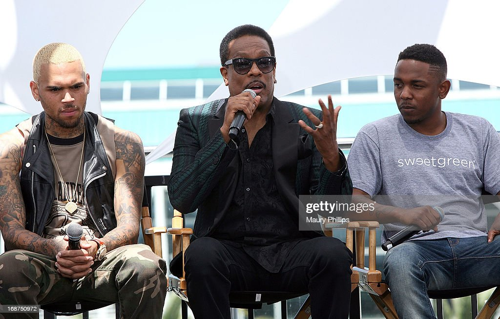 Chris Brown, Charlie Wilson and Kendrick Lamar attend the BET Awards 2013 Press Conference at Icon Ultra Lounge on May 14, 2013 in Los Angeles, California.