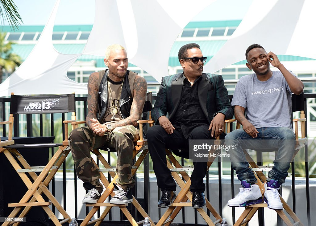 Chris Brown, Charlie Wilson, and <a gi-track='captionPersonalityLinkClicked' href=/galleries/search?phrase=Kendrick+Lamar&family=editorial&specificpeople=8012417 ng-click='$event.stopPropagation()'>Kendrick Lamar</a> on stage at the 2013 BET Awards press conference at Icon Ultra Lounge on May 14, 2013 in Los Angeles, California.