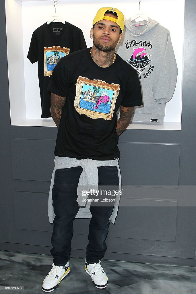 Chris Brown hosts special in-store meet and greet celebration at Pink+Dolphin's Fairfax location on November 7, 2012 in Los Angeles, California.