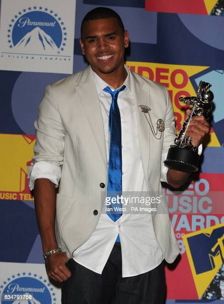 Chris Brown in the press room at the MTV Video Music Awards 2008 at Paramount Studios Hollywood Los Angeles California