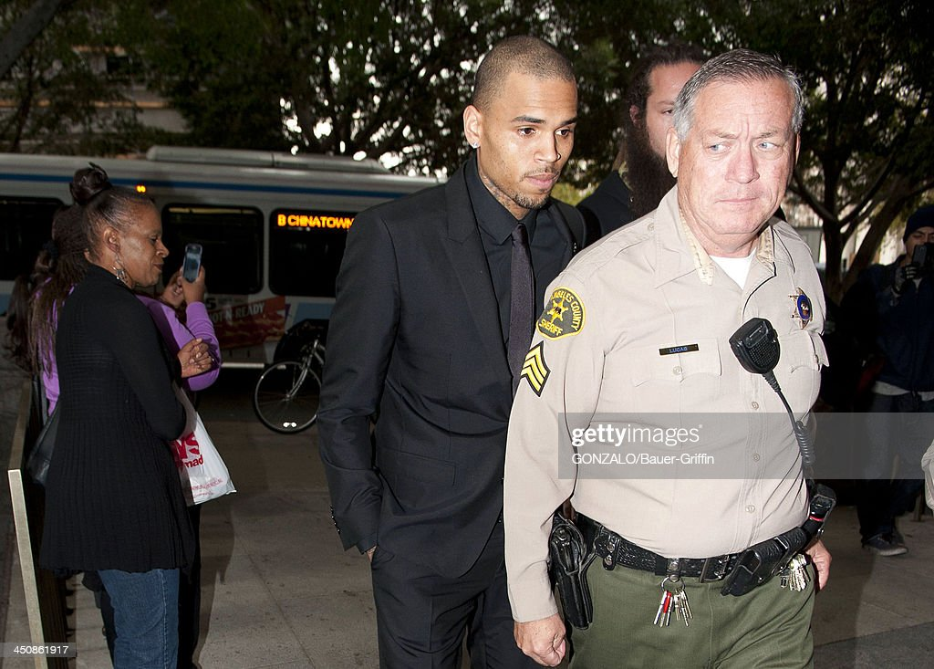 <a gi-track='captionPersonalityLinkClicked' href=/galleries/search?phrase=Chris+Brown+-+Singer&family=editorial&specificpeople=4452016 ng-click='$event.stopPropagation()'>Chris Brown</a> is seen arriving at the courthouse on November 20, 2013 in Los Angeles, California.