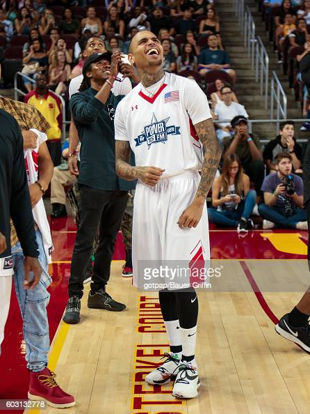 Chris Brown is seen at the Power 106 Celebrity Basketball Game at Galen Center on September 11 2016 in Los Angeles California