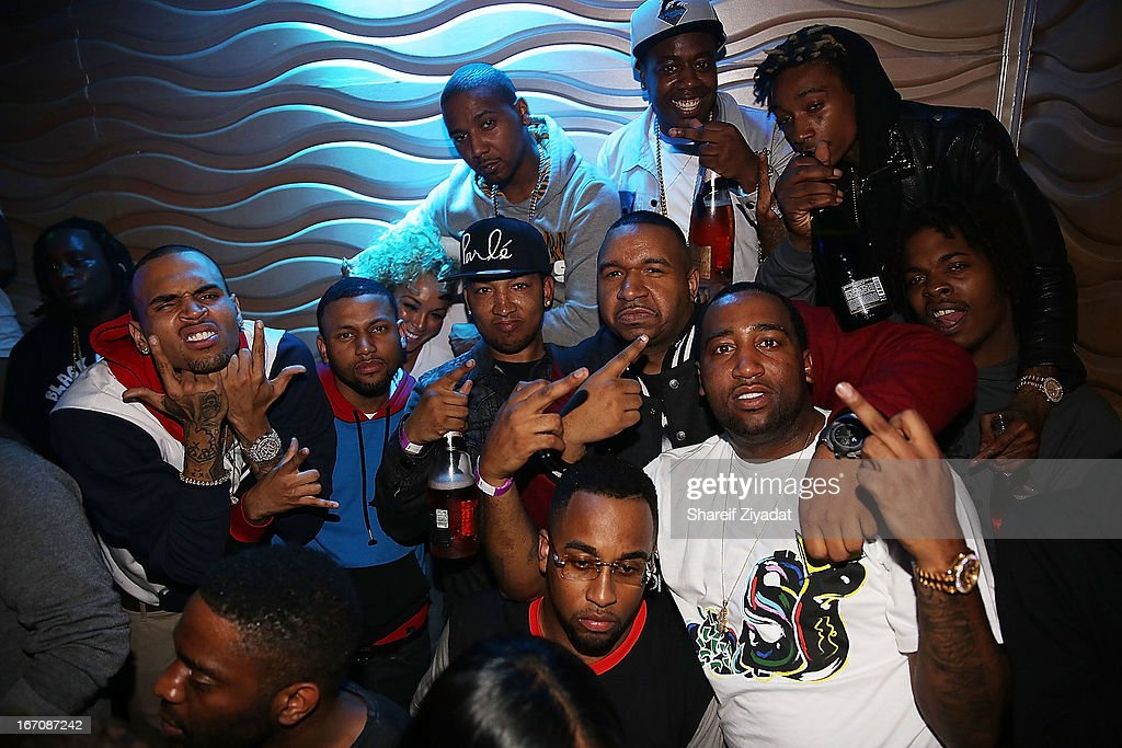 Chris Brown, Juelz Santana, Dj Suss One, Slobucks, Trav, and Wiz Khalifa attends the 2nd Annual DJ Prostyle's Birthday Bash after partyat Stage 48 on April 16, 2013 in New York City.