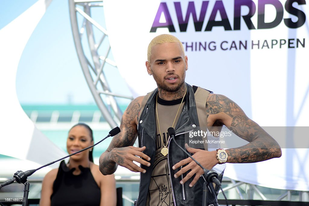 Chris Brown on stage at the 2013 BET Awards press conference at Icon Ultra Lounge on May 14, 2013 in Los Angeles, California.