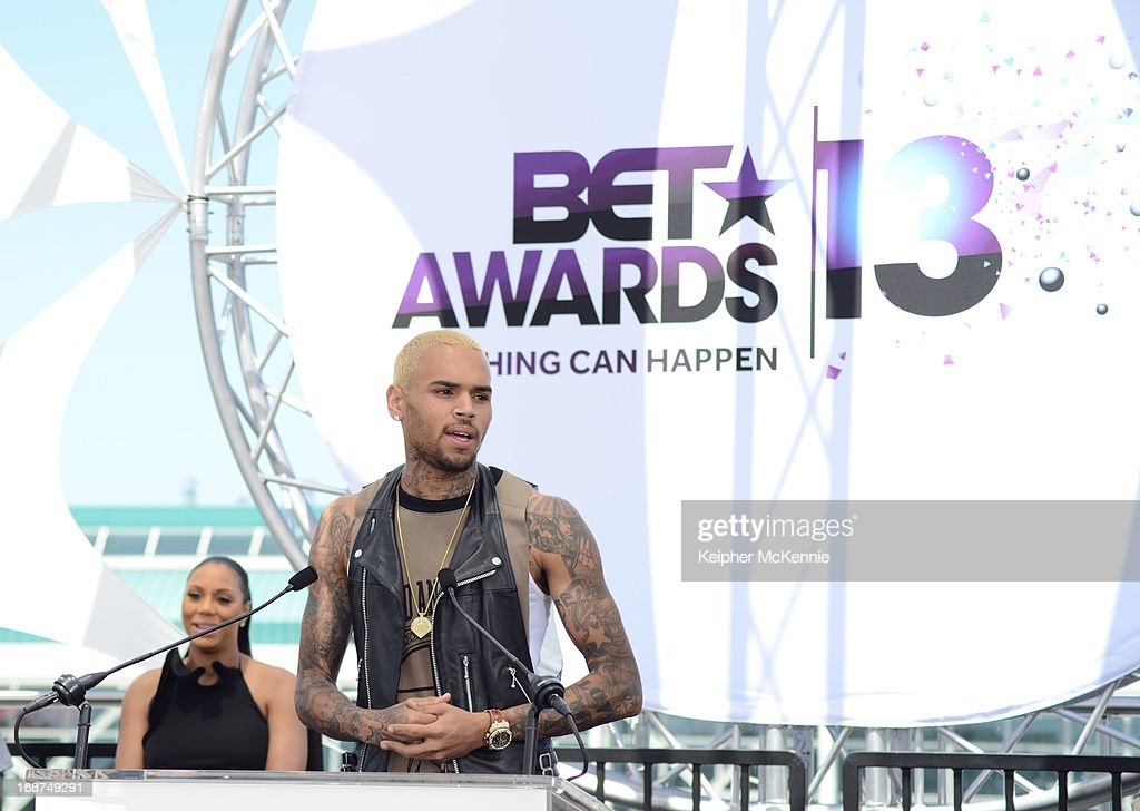 Chris Brown onstage at the 2013 BET Awards press conference at Icon Ultra Lounge on May 14, 2013 in Los Angeles, California.