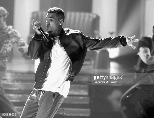 Chris Brown performs onstage at 2017 BET Awards at Microsoft Theater on June 25 2017 in Los Angeles California
