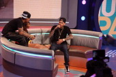 Chris Brown visits BET's '106 Park' with hosts Bow Wow and Paigion at BET Studios on April 1 in New York City