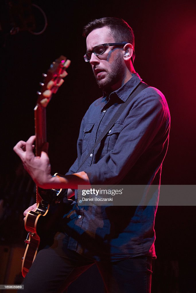 Chris Browne of Polar Bear Club during their performance on stage as a supporting act for Bad Religion at Congress Theater on April 5, 2013 in Chicago, Illinois.