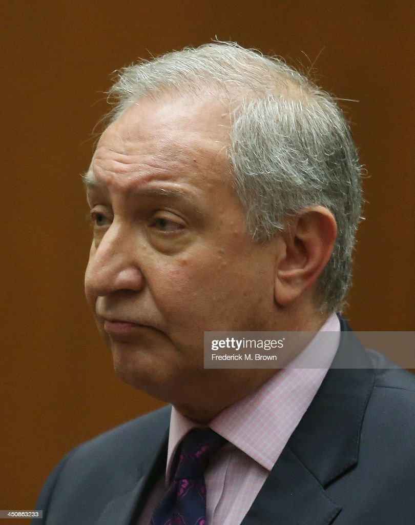 Chris Brown's attorney Mark Geragos appears in Los Angeles court on November 20 2013 in Los Angeles California Brown was ordered to 90 days at an...