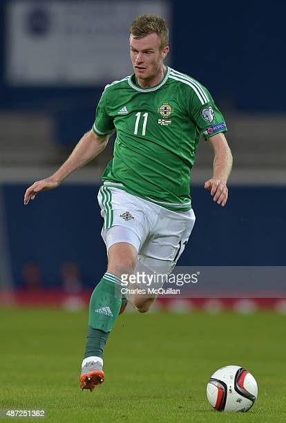 Chris Brunt of Northern Ireland during the Euro 2016 Group F qualifying match against Hungary at Windsor Park on September 7 2015 in Belfast Northern...