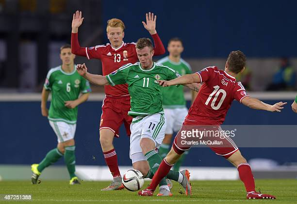 Chris Brunt of Northern Ireland is tackled by Zoltan Gera and Zsolt Kalmar of Hungary during the Euro 2016 Group F qualifying match at Windsor Park...