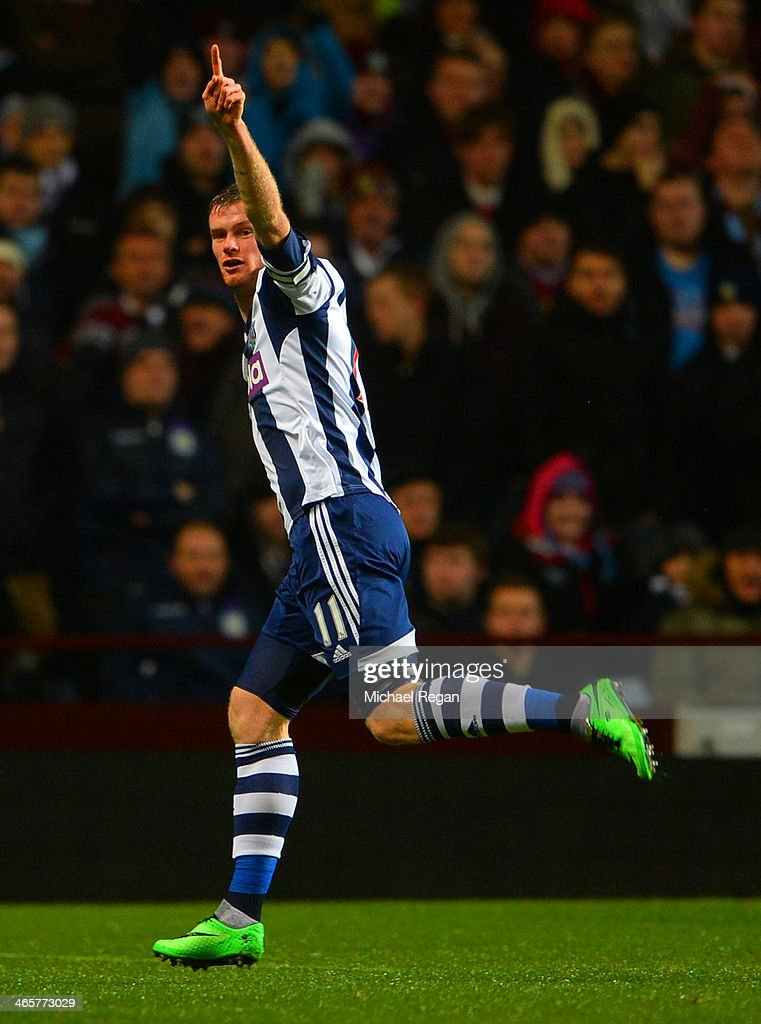 <a gi-track='captionPersonalityLinkClicked' href=/galleries/search?phrase=Chris+Brunt&family=editorial&specificpeople=809047 ng-click='$event.stopPropagation()'>Chris Brunt</a> of West Brom celebrates scoring the opening goal during the Barclays Premier League match between Aston Villa and West Bromwich Albion at Villa Park on January 29, 2014 in Birmingham, England.
