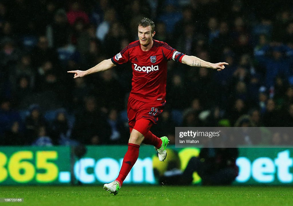 Chris Brunt Of West Bromwich Albion celebrates scoring during the Barclays Premier League match between Queens Park Rangers and West Bromwich Albion at Loftus Road on December 26, 2012 in London, England.