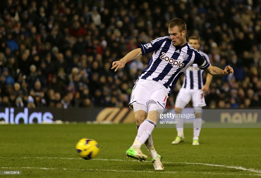 <a gi-track='captionPersonalityLinkClicked' href=/galleries/search?phrase=Chris+Brunt&family=editorial&specificpeople=809047 ng-click='$event.stopPropagation()'>Chris Brunt</a> of West Bromwich Albion scores their first goal during the Barclays Premier League match between West Bromwich Albion and Aston Villa at The Hawthorns on January 19, 2013 in West Bromwich, England.