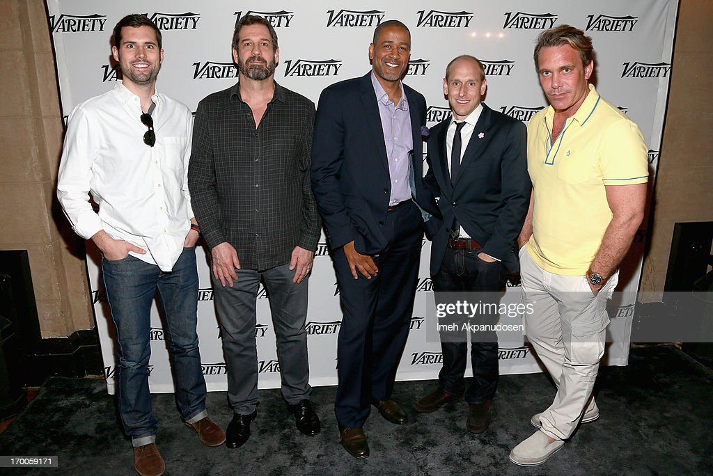 Chris Bruss, Head of Branded Entertainment FunnyorDie.com, Allen DeBevoise, CEO Machinima, Terry City, VP West Coast BuzzFeed, Gregg Colvin, SVP Universal McCann, and Patrick O'Neill Executive Creative Director TBWA/Chiat/Day LA speak at the 'Branded Entertainment All-Stars' panel during Variety Presents