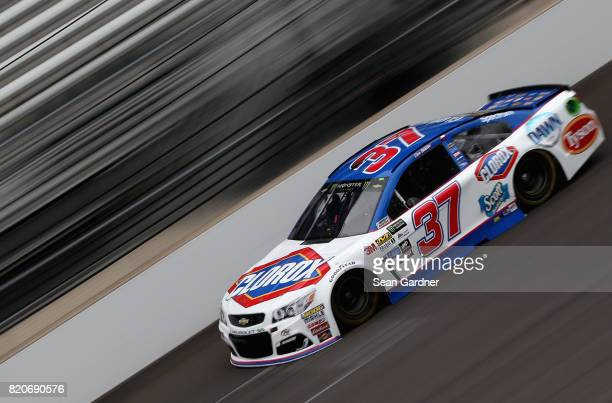 Chris Buescher driver of the Clorox Chevrolet practices for the Monster Energy NASCAR Cup Series Brickyard 400 at Indianapolis Motorspeedway on July...