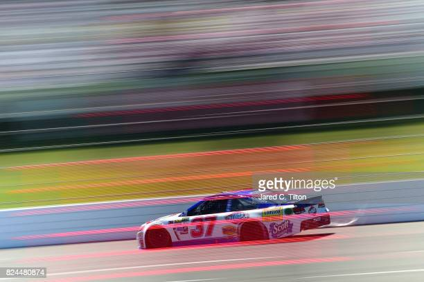 Chris Buescher driver of the Clorox Chevrolet qualifies for the Monster Energy NASCAR Cup Series Overton's 400 at Pocono Raceway on July 30 2017 in...