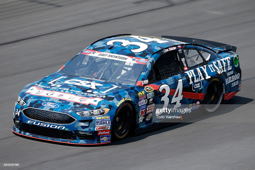 <a gi-track='captionPersonalityLinkClicked' href=/galleries/search?phrase=Chris+Buescher&family=editorial&specificpeople=7728537 ng-click='$event.stopPropagation()'>Chris Buescher</a>, driver of the #34 CSX - Play It Safe Ford, practices for the NASCAR Sprint Cup Series Coca-Cola 600 at Charlotte Motor Speedway on May 27, 2016 in Charlotte, North Carolina.