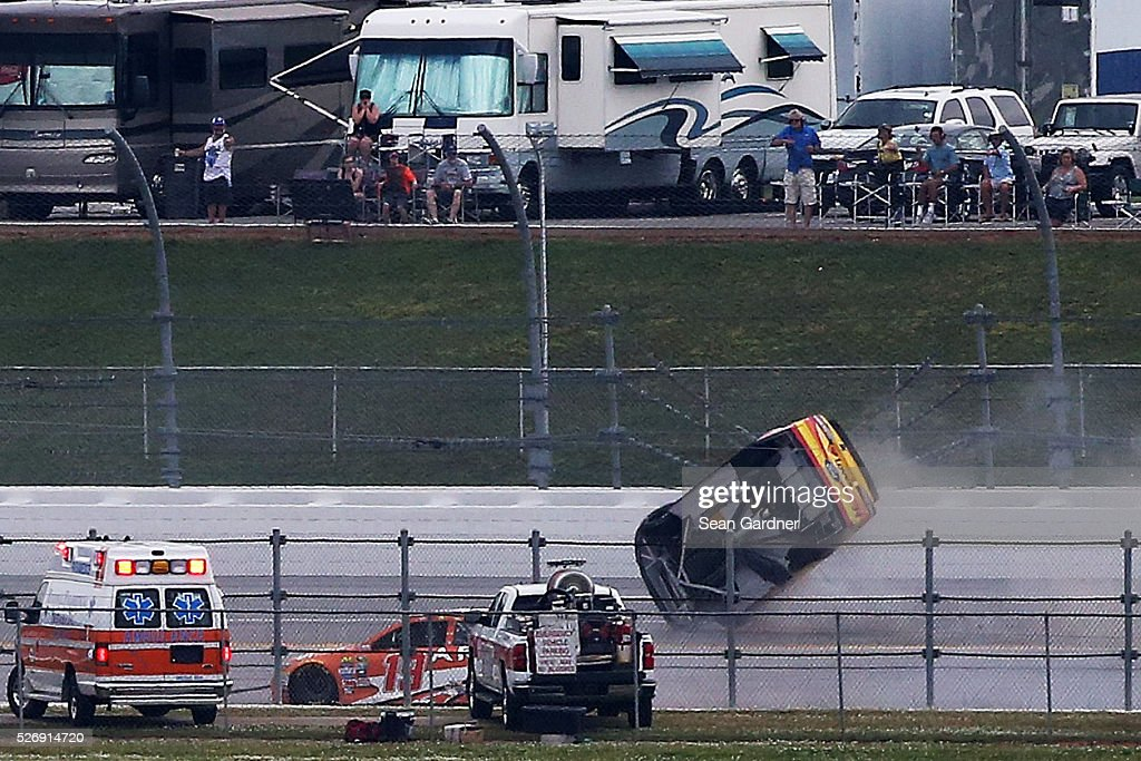 Chris Buescher, driver of the #34 Love's Travel Stops/CSX-Play it Safe Ford, has an on track incident during the NASCAR Sprint Cup Series GEICO 500 at Talladega Superspeedway on May 1, 2016 in Talladega, Alabama.