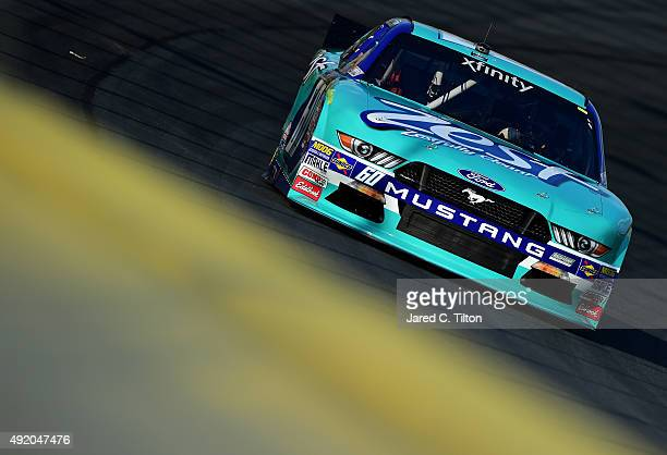 Chris Buescher driver of the Zest Ford qualifies for the NASCAR XFINITY Series Drive for the Cure 300 at Charlotte Motor Speedway on October 9 2015...