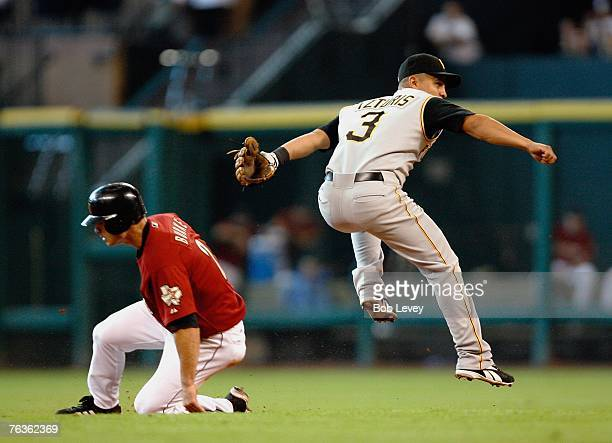 Chris Burke of the Houston Astros slides under shortstop Cesar Izturis of the Pittsburg Pirates in an attempt to break up a double play during the...